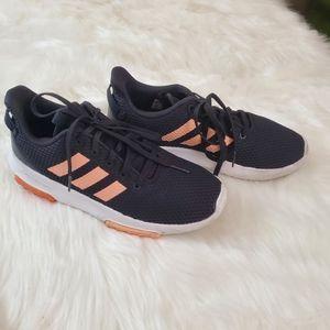 Adidas Sz 5.5 Cloudfoam Black & Peach Sneakers